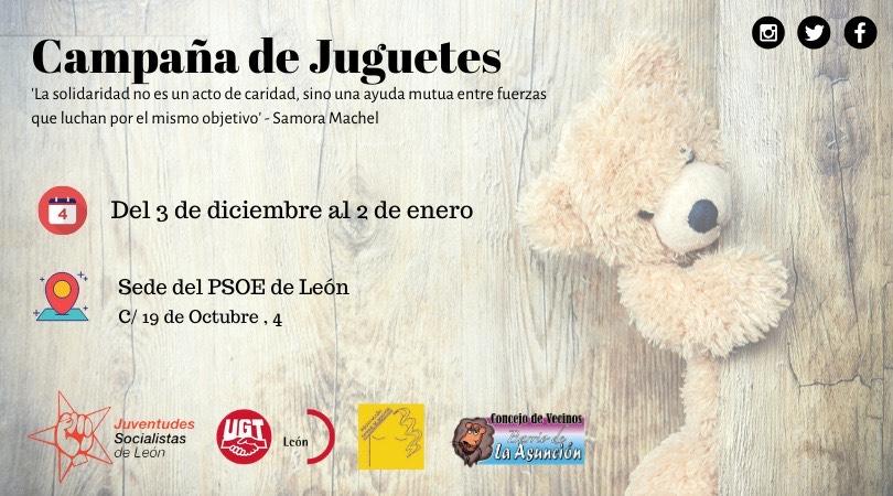 Juventudes Socialistas de León inicia su campaña de juguetes para que ningún niño se quede sin regalos esta Navidad
